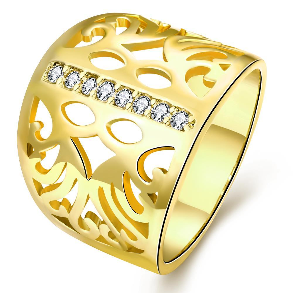 Vienna Jewelry Gold Plated Laser Cut Thick Round Ring