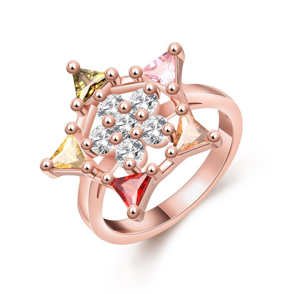 Vienna Jewelry Gold Plated Coloful Starfish Ring