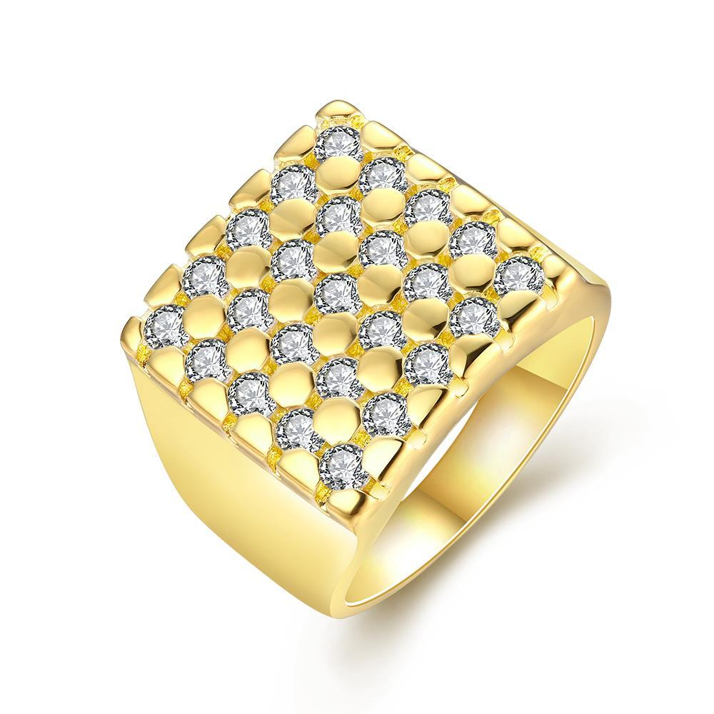 Vienna Jewelry Gold Plated Cube Shaped with Jewels Covering Ring