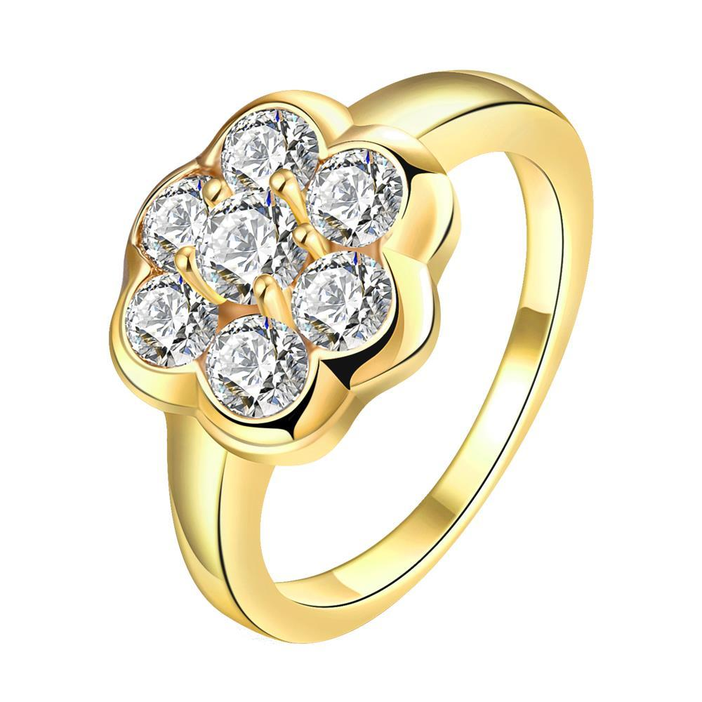 Vienna Jewelry Gold Plated Clover Cluster Jewels Ring