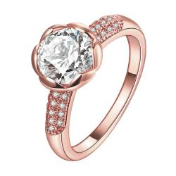 Vienna Jewelry Gold Plated Crystal Floral Ring - Thumbnail 0