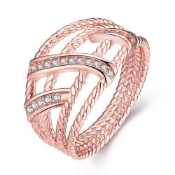 Vienna Jewelry Gold Plated Twisted Designer Inspired Modern Ring - Thumbnail 0