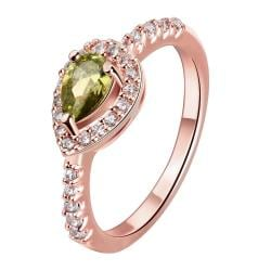Vienna Jewelry Gold Plated Classic Emerald Accent Ring - Thumbnail 0