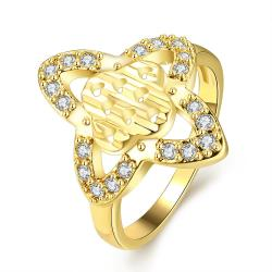 Vienna Jewelry Gold Plated Quad-Curved Jewel Ring - Thumbnail 0