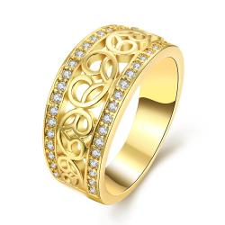 Vienna Jewelry Gold Plated Swirl Line Classic Ring - Thumbnail 0