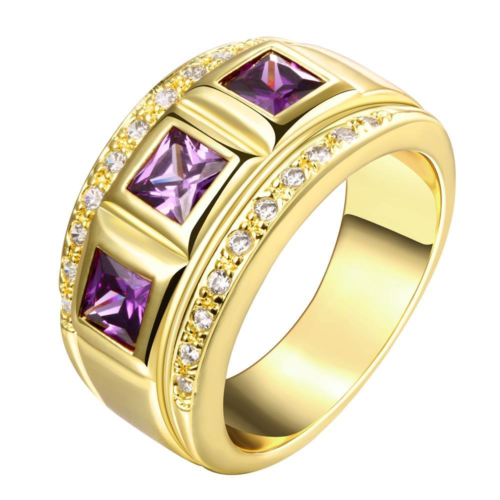 Vienna Jewelry Gold Plated Trio-Gem Accents Ring