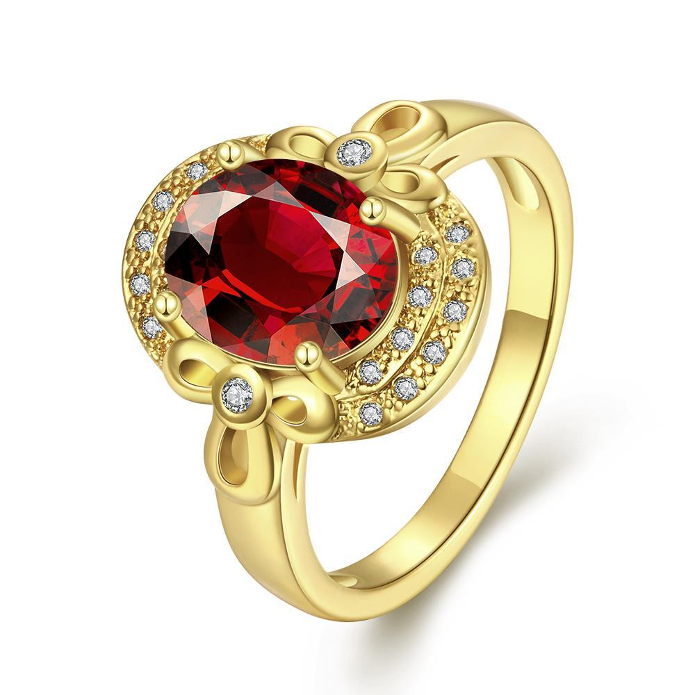Vienna Jewelry Gold Plated Circular Inprint Gemstone Ring