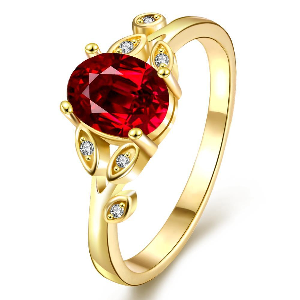 Vienna Jewelry Gold Plated Queen's Ring with Gemstone