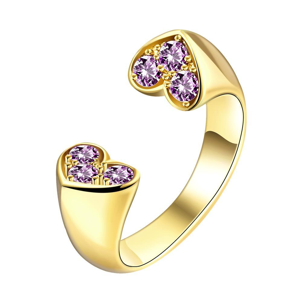 Vienna Jewelry Gold Plated Double Petite Hearts Ring