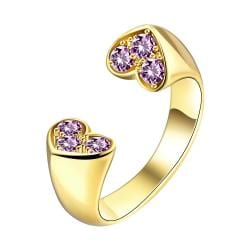 Vienna Jewelry Gold Plated Double Petite Hearts Ring - Thumbnail 0