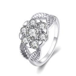 Vienna Jewelry Gold Plated Pentagon Crystal Ring - Thumbnail 0