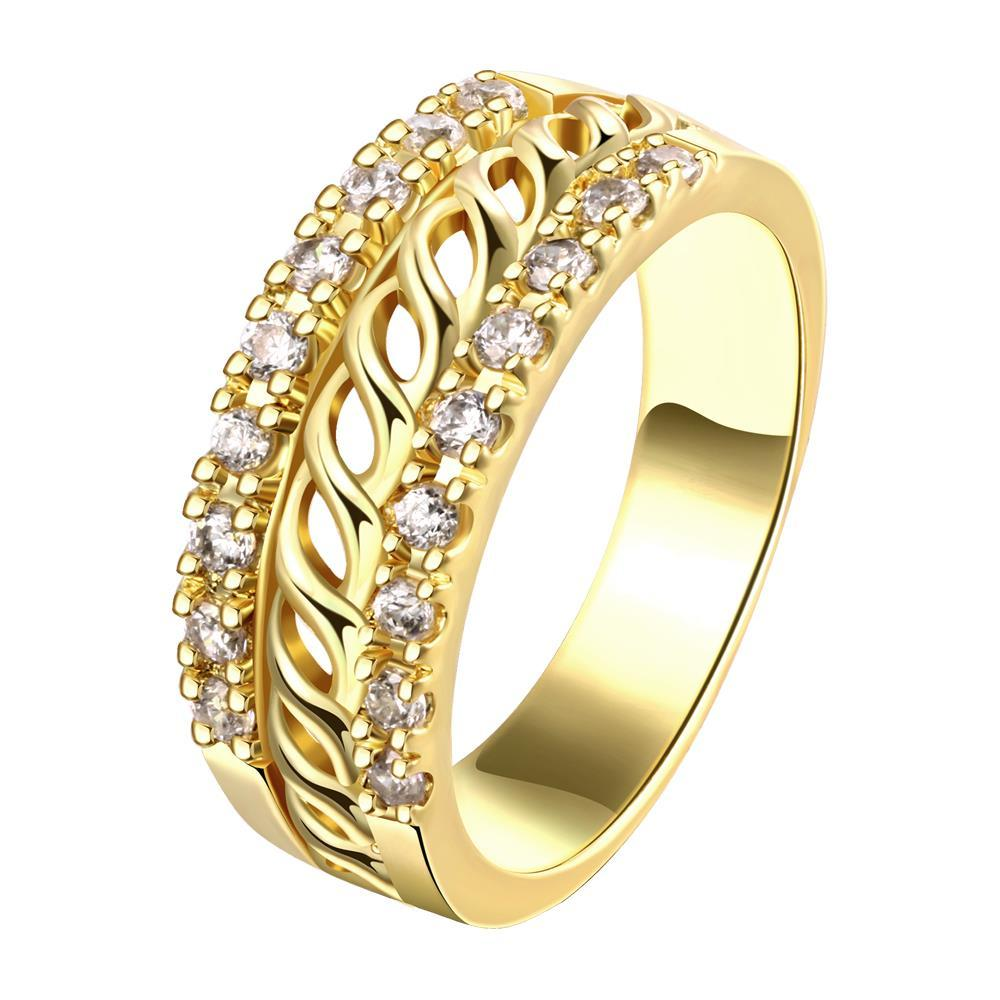 Vienna Jewelry Gold Plated Swirl Design Laser Cut Ring