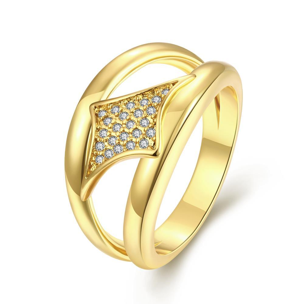 Vienna Jewelry Gold Plated Diamond Shaped Design Ring
