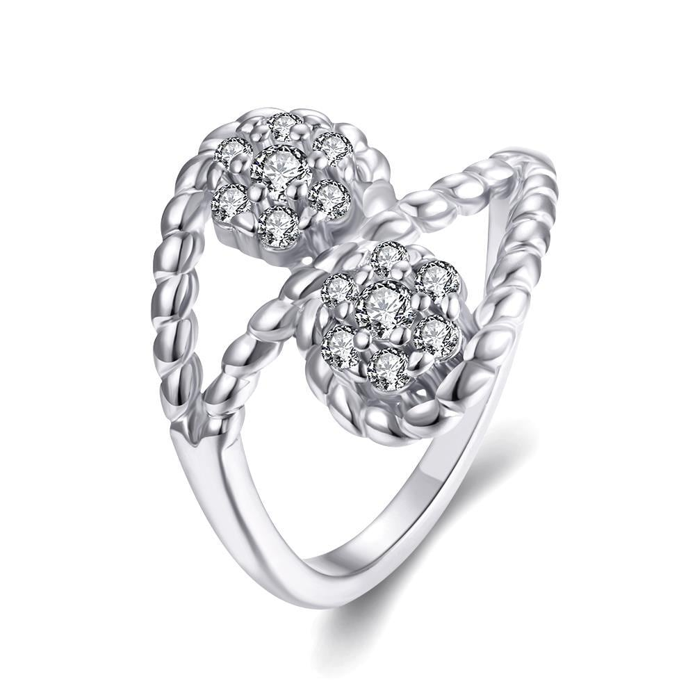 Vienna Jewelry Gold Plated Double Crystal Pave' Ring