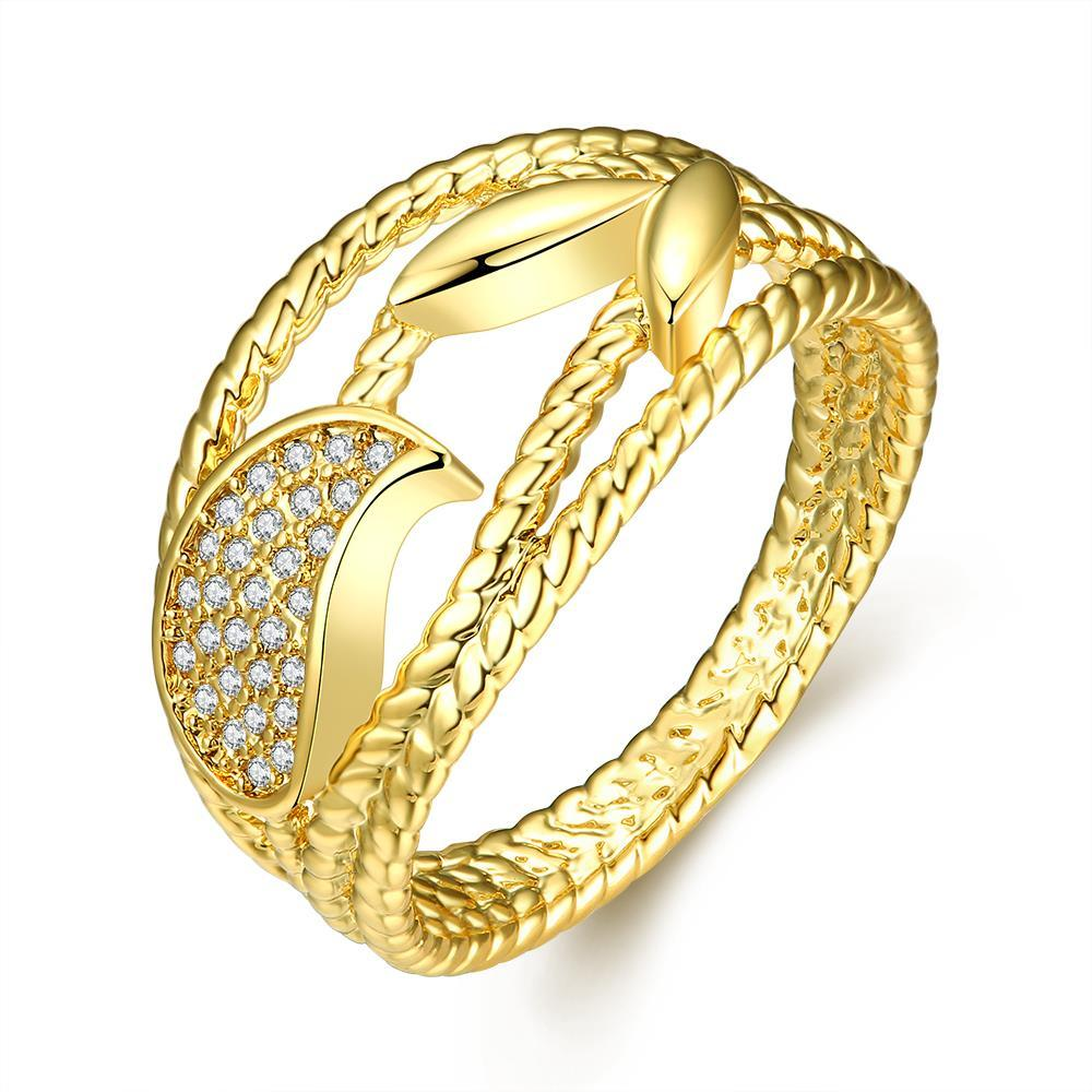 Vienna Jewelry Gold Plated Curved Swirls Lined Ring