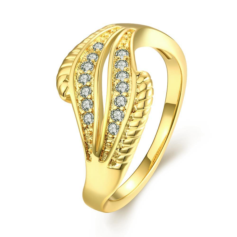 Vienna Jewelry Gold Plated Abstract Crystals Ring