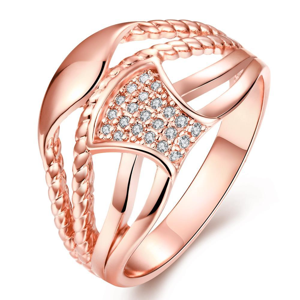 Vienna Jewelry Gold Plated Swirled Lined Ring