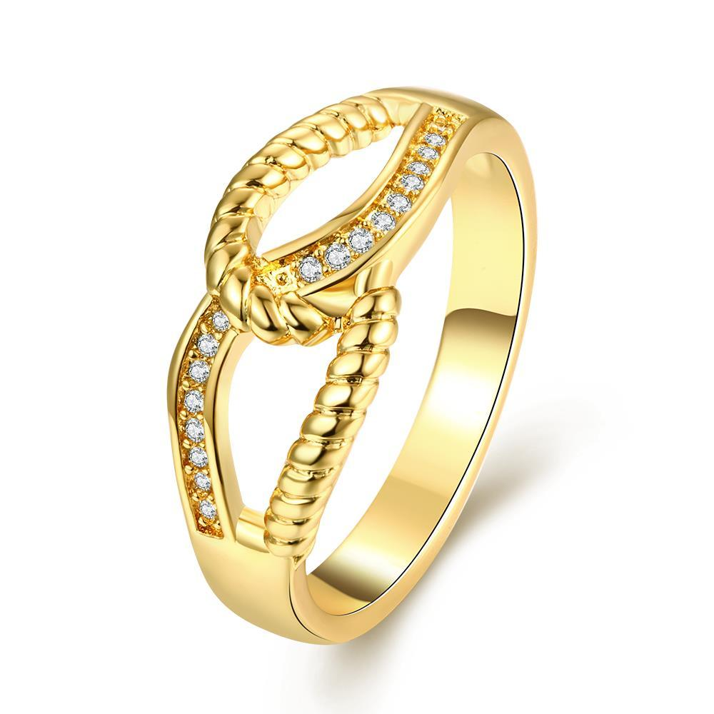 Vienna Jewelry Gold Plated Double Loop Classical Ring