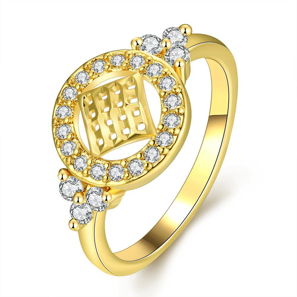 Vienna Jewelry Gold Plated Circular Design with Jewels Ring