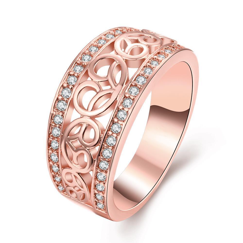 Vienna Jewelry Gold Plated Swirl Line Classic Ring