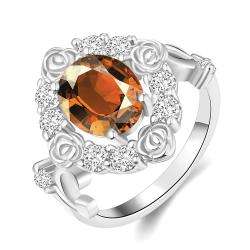 Vienna Jewelry Gold Plated Floral Petal Gemstone Ring - Thumbnail 0