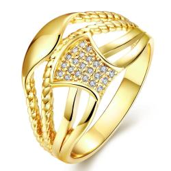 Vienna Jewelry Gold Plated Swirled Lined Ring - Thumbnail 0