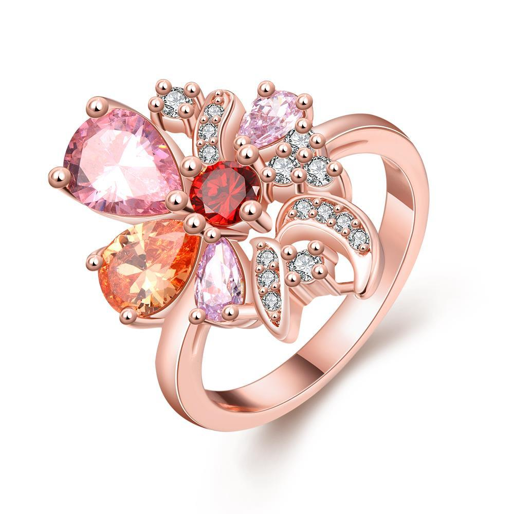 Vienna Jewelry Gold Plated Floral Candy Colored Ring