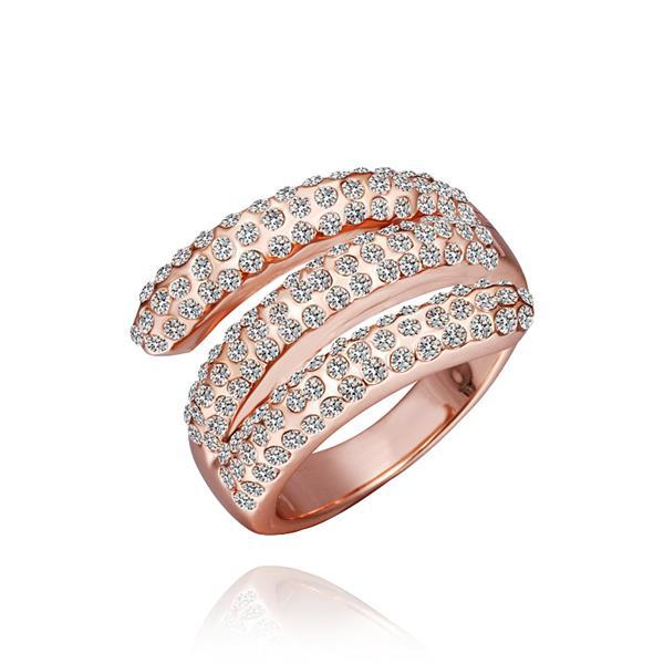Vienna Jewelry Rose Gold Plated Matrix Curved Crystal Jewels Ring Size 8