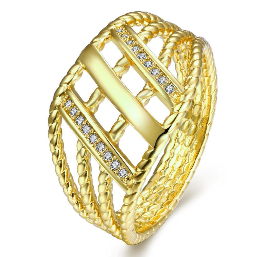 Vienna Jewelry Gold Plated Overlayering Pattern Ring