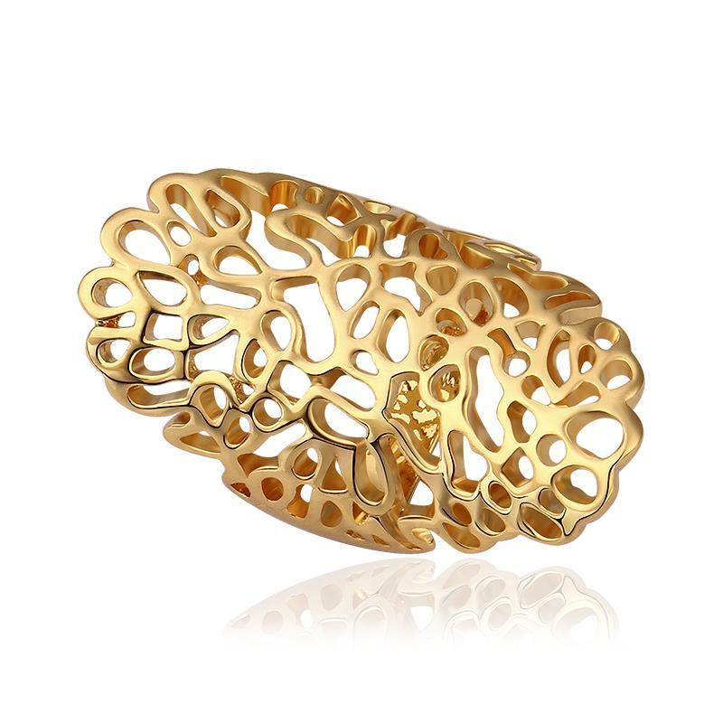 Vienna Jewelry Gold Plated Laser Cut Large Abstract Ring Size 8