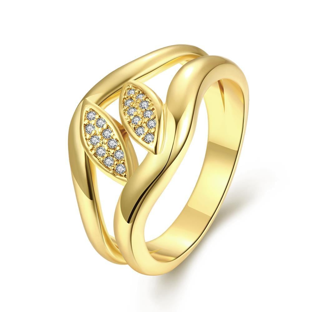 Vienna Jewelry Gold Plated Double Petite Crystal Plate Ring
