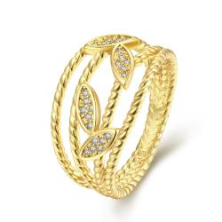 Vienna Jewelry Gold Plated Grape Vine Classical Ring - Thumbnail 0