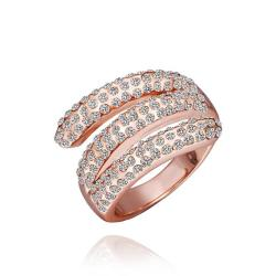 Vienna Jewelry Rose Gold Plated Matrix Curved Crystal Jewels Ring Size 8 - Thumbnail 0