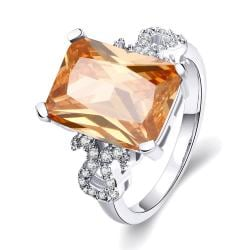 Vienna Jewelry Gold Plated Citrine Center Gem Classical Ring - Thumbnail 0