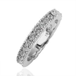 Vienna Jewelry Petite White Gold Jewels Covering Band Size 8 - Thumbnail 0