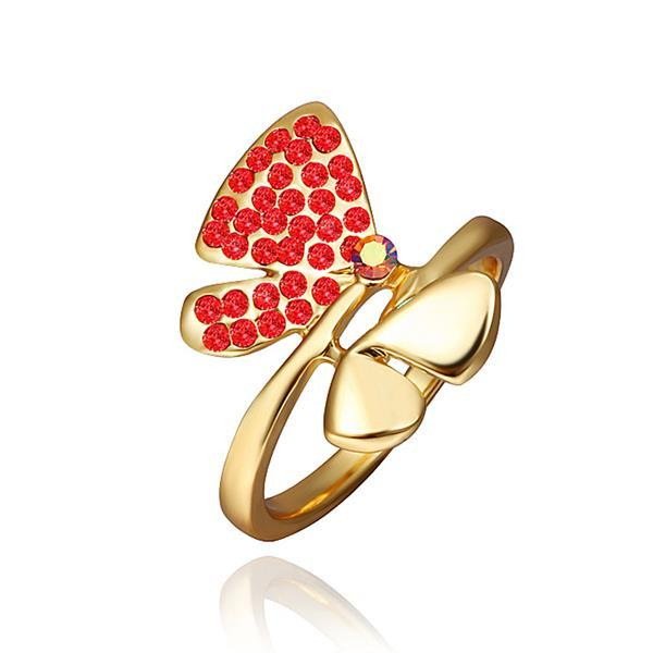 Vienna Jewelry Gold Plated Ruby Red Jewels Covering Butterfly Ring Size 8