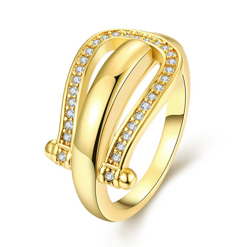 Vienna Jewelry Gold Plated Horseshoe Design Ring