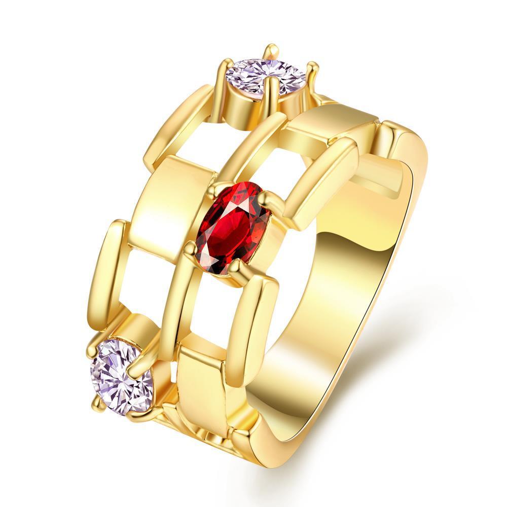 Vienna Jewelry Gold Plated Thick Citrine Gemstone Ring