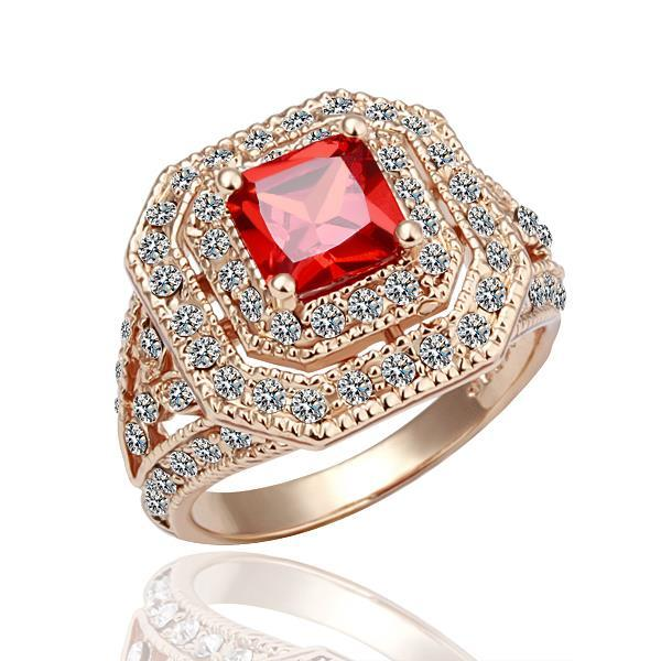 Vienna Jewelry Rose Gold Plated Ruby Center Statement Ring Size 8