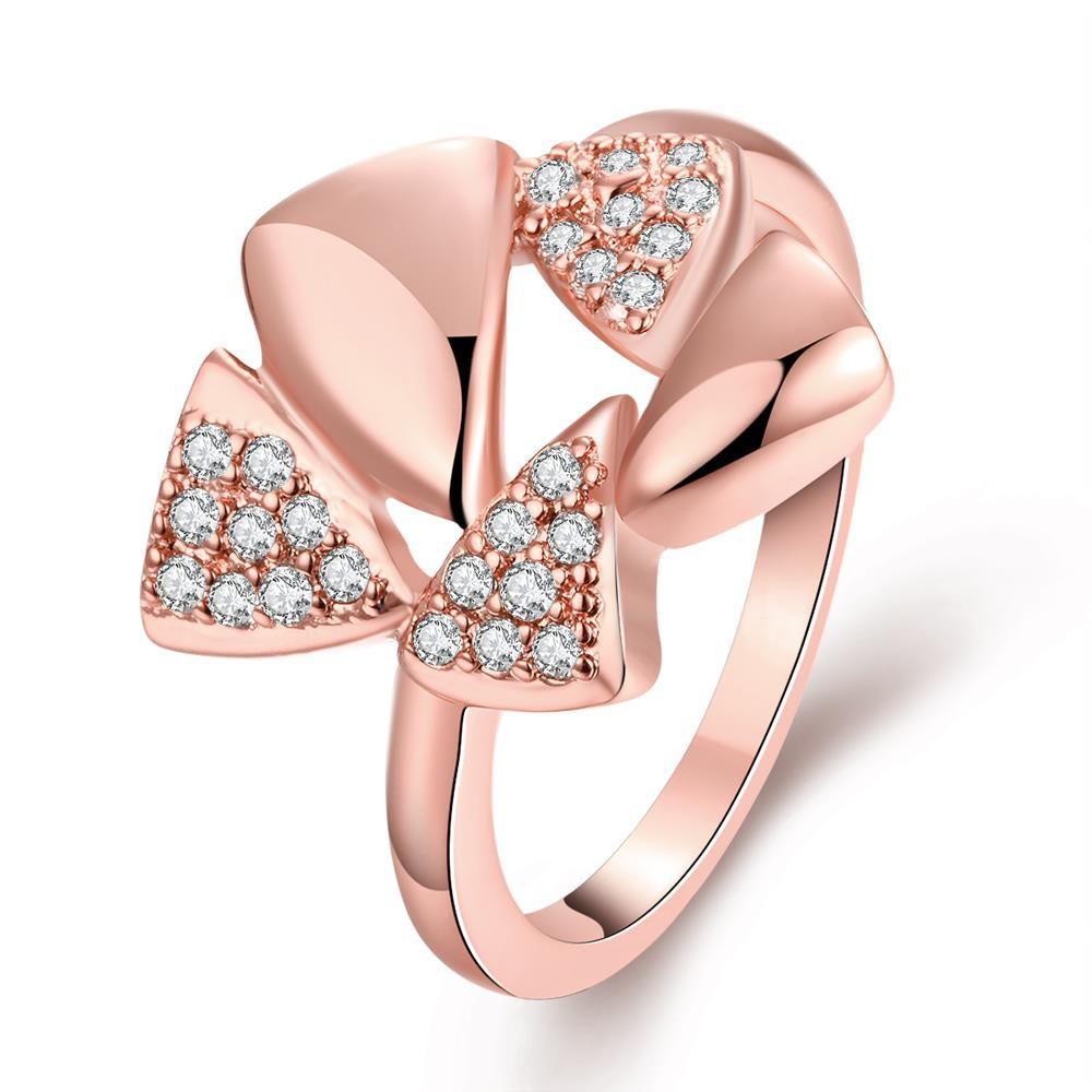Vienna Jewelry Gold Plated Triangular Crystal Ring