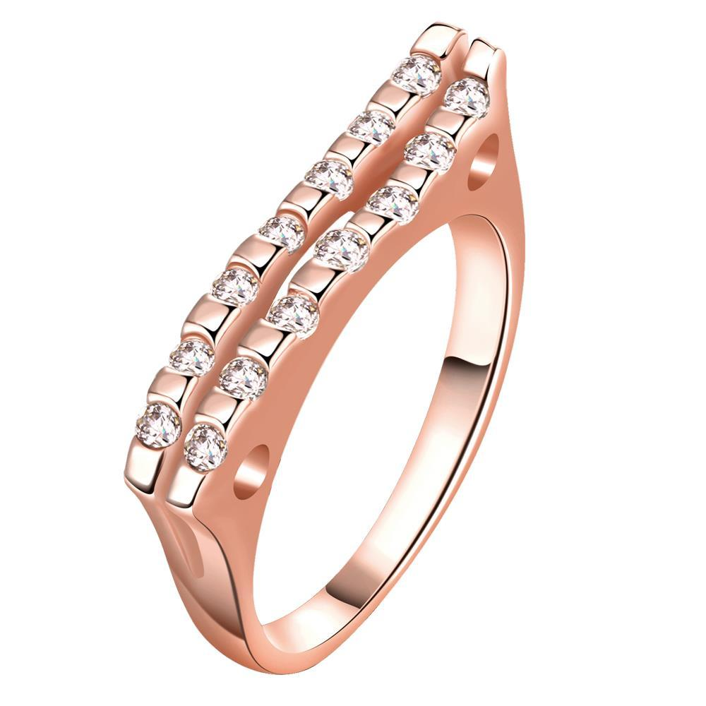 Vienna Jewelry Gold Plated Clean Cut Modern Slant Ring