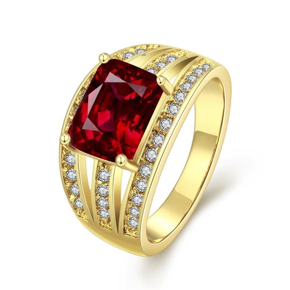 Vienna Jewelry Gold Plated Medium Size Gemstone Ring - Thumbnail 0