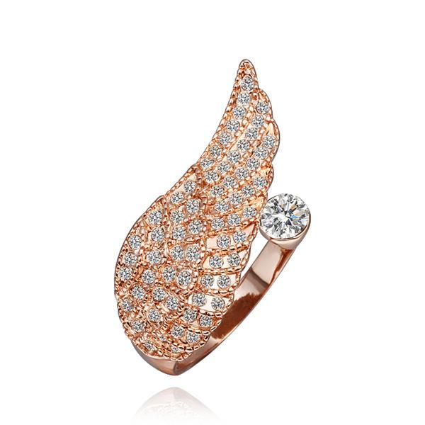 Vienna Jewelry Rose Gold Plated Crystal Covering Ring Size 8