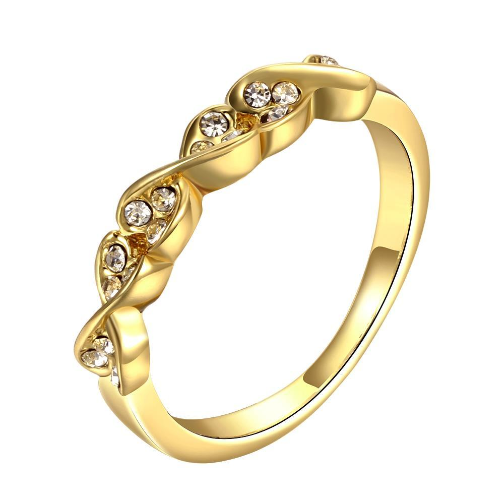 Vienna Jewelry Gold Plated Heart Swirl Design Classical Ring Size 8