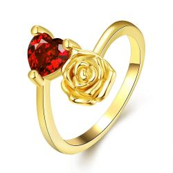 Vienna Jewelry Gold Plated Floral Bud with Gemstone Ring - Thumbnail 0