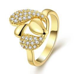 Vienna Jewelry Gold Plated Overlayering Floral Petal Ring - Thumbnail 0