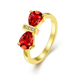 Vienna Jewelry Gold Plated Double Classical Gemstone Ring - Thumbnail 0