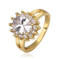 Vienna Jewelry Gold Plated Crystal Center Cocktail Ring Size 7 - Thumbnail 0