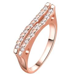 Vienna Jewelry Gold Plated Clean Cut Modern Slant Ring - Thumbnail 0