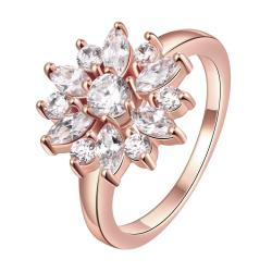 Vienna Jewelry Gold Plated Snowflake Covered in Jewels Ring - Thumbnail 0